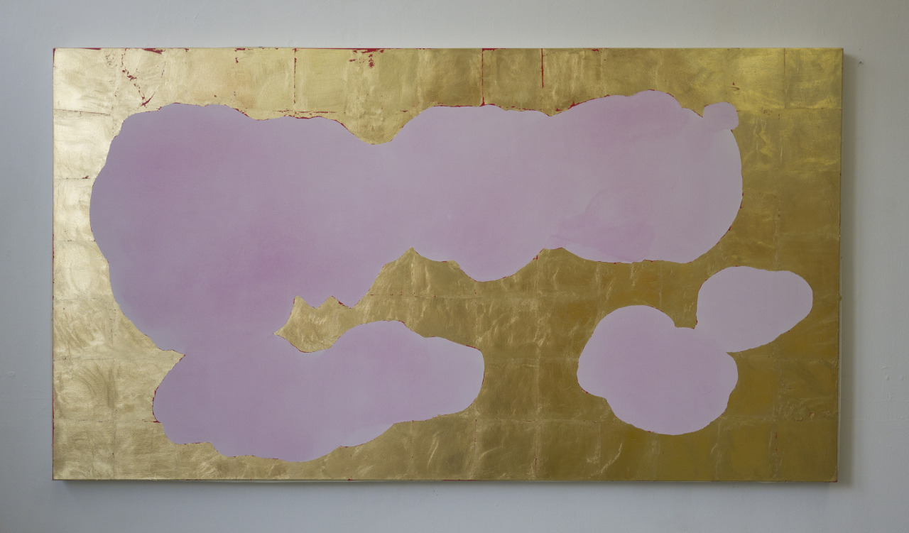 untitled, 2014, acrylic and gold leaf on canvas, 200x110cm